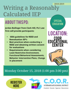Flyer for Writing a Reasonably Calculated IEP