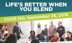 Life's Better When You Blend - COOR ISD, September 26, 2018 Prof Dev (adults laughing and talking at table)